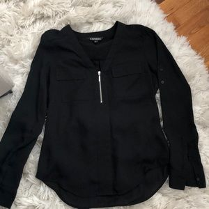 Express black blouse with silver zipper